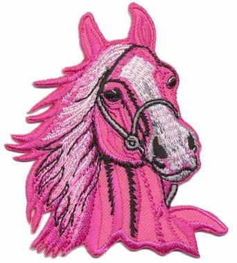 Opstrijkbare applicatie paardenhoofd roze (5 stuks)