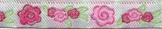 Roze-licht roze-groen-zilver roosjes/bloemband 12 mm (ca. 22 m)