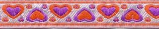 Oranje-paars-zilver hartjesband 12 mm (ca. 22 m)