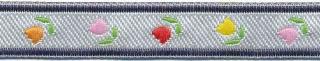 Zilver-blauw tulpenband 12 mm (ca. 22 m)