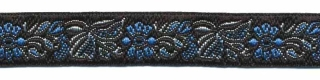 Zwart-licht blauw-licht grijs/zilver bloemband 12 mm (ca. 22 m)
