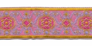 Jacquard/barok stijl sierband oud roze-lila-oker geel 25 mm (ca. 22 m)
