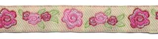 Roze-licht roze-groen-creme roosjes/bloemband 12 mm (ca. 22 m)