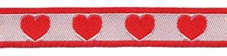 Rood-wit hartjesband 12 mm (ca. 22 m)