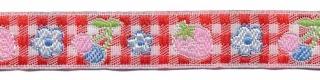 Rood-wit geruit band met aardbei en bloemetje 12 mm (ca. 22 m)