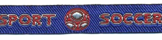Rood-zilver-blauw voetbal 'soccer sport' sierband 12 mm (ca. 22 m)