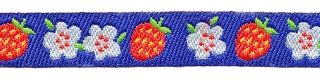 Kobalt blauw sierband met rode aardbeien en witte bloemetjes 12 mm (ca. 22 m)
