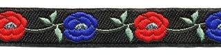 Zwart-zilver-kobalt blauw-rood bloemband 12 mm (ca. 22 m)