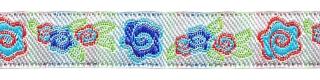 Blauw-rood-groen-zilver roosjes/bloemband 12 mm (ca. 22 m)