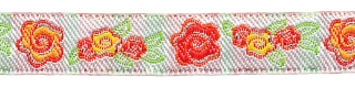 Oranje-rood-geel-groen-zilver roosjes/bloemband 12 mm (ca. 22 m)