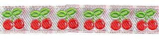 Rood-wit-groen kersjes band 12 mm (ca. 22 m)