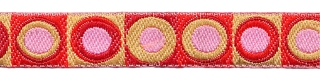 Rood-bordeaux-zand-roze retro sierband 12 mm (ca. 22 m)