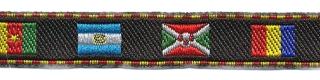 Zwart-vlaggen sierband met rood-geel randje 12 mm (ca. 22 m)