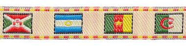 Creme-vlaggen sierband met rood-geel randje 12 mm (ca. 22 m)