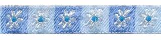Witte bloem in blauw en licht blauw vierkantje band 12 mm (ca. 22 m)