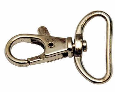 Musketonhaak / sleutelhanger zilverkleurig 25 mm (10 stuks)