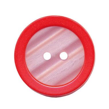 Knoop met opstaande rand rood met witte binnenkant 25 mm (ca. 25 stuks)