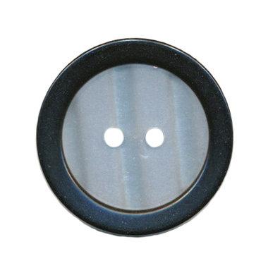 Knoop met opstaande rand zwart met witte binnenkant 25 mm (ca. 25 stuks)