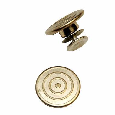 Jeans knoop cirkels mat zilver 17 mm (25 stuks)