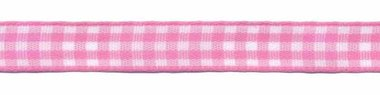 Ruit band roze-wit 10 mm (ca. 45 m)