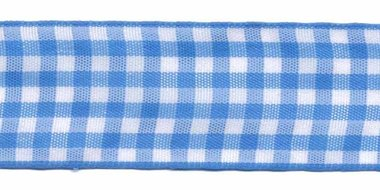 Ruit band blauw-wit 25 mm (ca. 45 m)