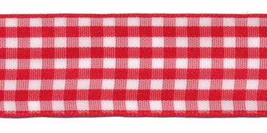 Ruit band rood-wit 25 mm (ca. 45 m)