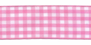Ruit band roze-wit 25 mm (ca. 45 m)