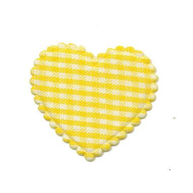 Applicatie ruitjes hart geel middel 35 x 30 mm (ca. 25 stuks)