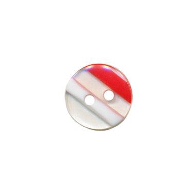 Knoop doorzichtig/wit/rood gestreept 10 mm (ca. 100 stuks)