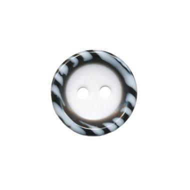 Knoop met opstaande rand wit-zwart/wit 15 mm (ca. 50 stuks)