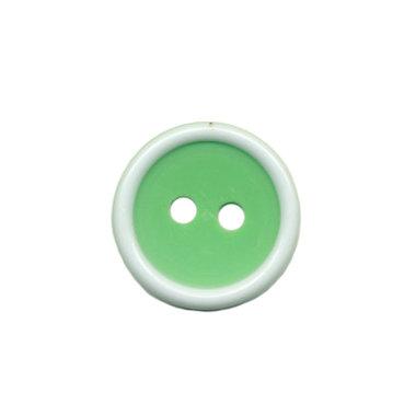 Knoop met opstaande rand appel groen-wit 15 mm (ca. 50 stuks)