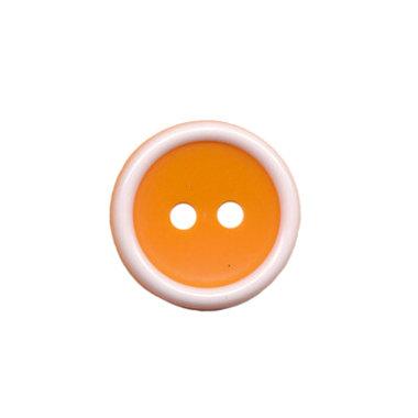 Knoop met opstaande rand oranje-wit 15 mm (ca. 50 stuks)
