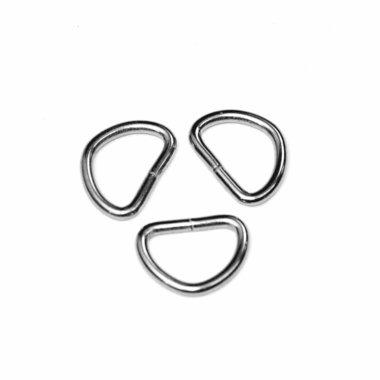 Metalen D-ring zilverkleurig 20 mm (ca. 25 stuks)