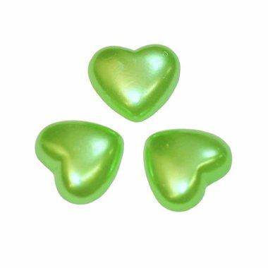 Flatback hart parelmoer groen 20 x 18 mm (10 stuks)