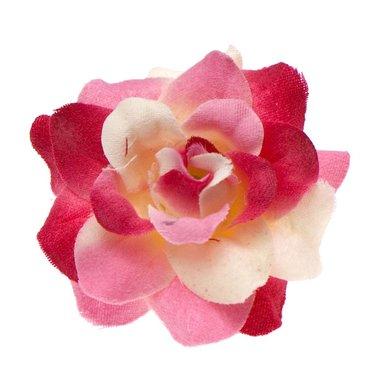 Roos roze-wit stof ca. 4,5 cm (10 stuks)