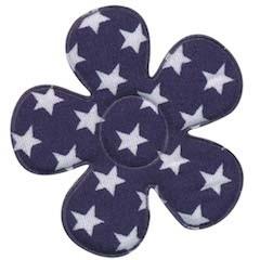 Applicatie bloem donker blauw met witte sterren katoen groot 45 mm (ca. 25 stuks)