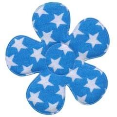 Applicatie bloem blauw met witte sterren katoen groot 45 mm (ca. 25 stuks)