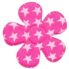 Applicatie bloem knal roze met witte sterren katoen groot 45 mm (ca. 25 stuks)