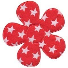 Applicatie bloem rood met witte sterren katoen groot 45 mm (ca. 25 stuks)