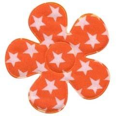 Applicatie bloem oranje met witte sterren katoen groot 45 mm (ca. 25 stuks)