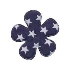 Applicatie bloem donker blauw met witte sterren katoen middel 35 mm (ca. 100 stuks)
