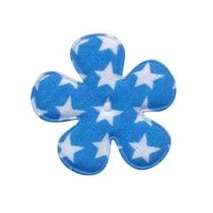 Applicatie bloem blauw met witte sterren katoen middel 35 mm (ca. 25 stuks)