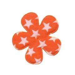 Applicatie bloem oranje met witte sterren katoen middel 35 mm (ca. 25 stuks)