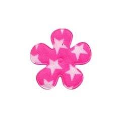 Applicatie bloem knal roze met witte sterren katoen klein 25 mm (ca. 25 stuks)