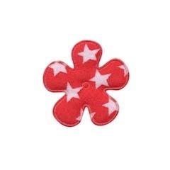 Applicatie bloem rood met witte sterren katoen klein 25 mm (ca. 25 stuks)