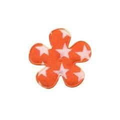 Applicatie bloem oranje met witte sterren katoen klein 25 mm (ca. 25 stuks)