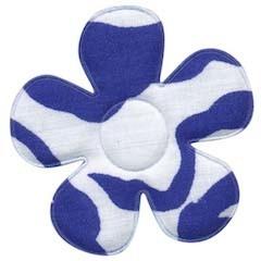 Applicatie bloem met zebra print wit/blauw groot 45 mm (ca. 25 stuks)