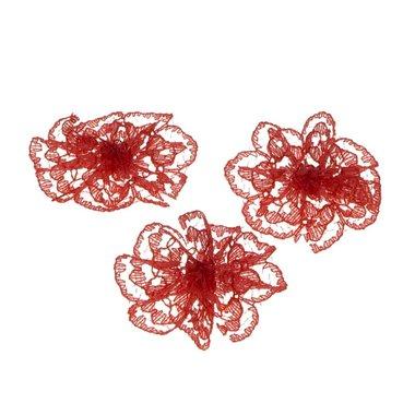 Kanten rozet rood ca. 32 mm (ca. 25 stuks)
