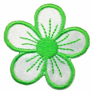 Applicatie bloem wit/groen (ca. 10 stuks)