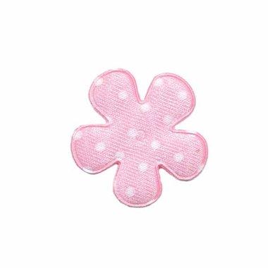 Applicatie bloem roze met witte stippen satijn klein 25 mm (ca. 100 stuks)